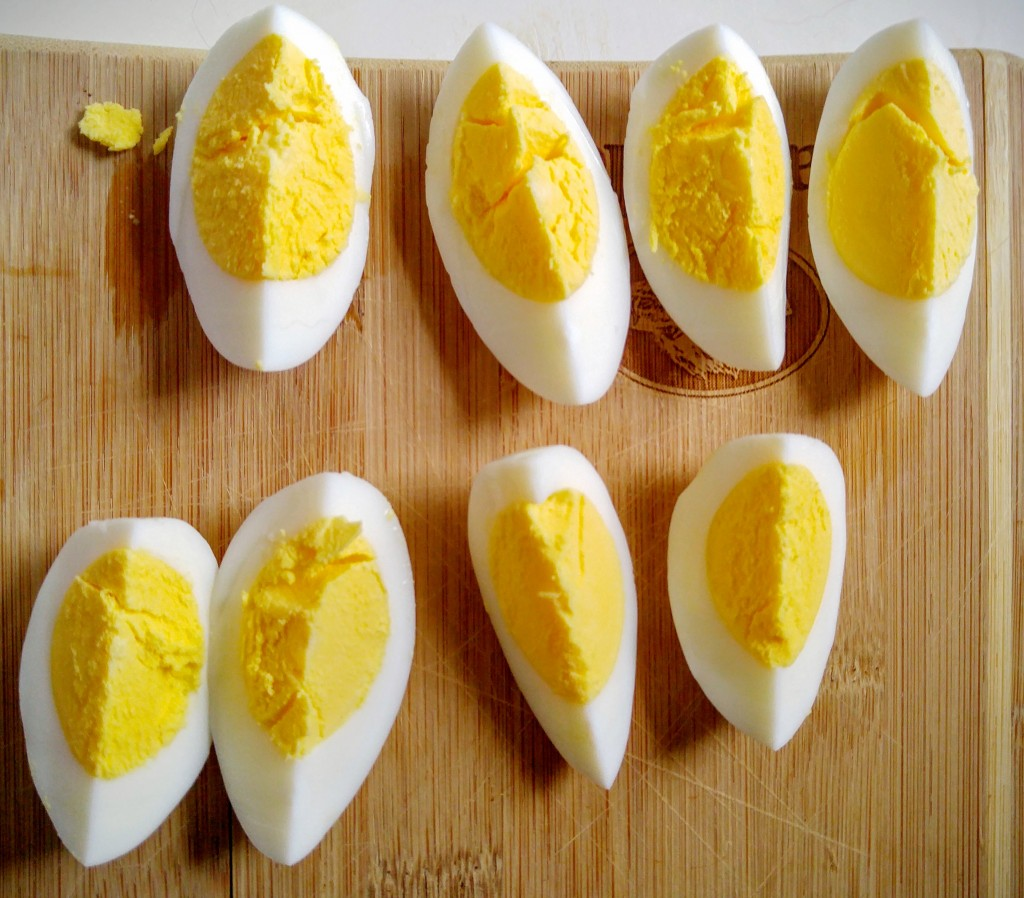 quartered hard boiled eggs